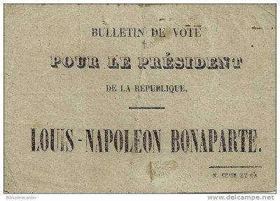 bulletin de vote Napoleon